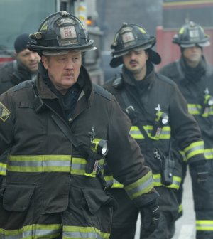 "Pictured: (l-r) Christian Stolte as Mouch, Yuri Sardarov as Brian ""Otis"" Zvonecek -- (Photo by: Elizabeth Morris/NBC)"