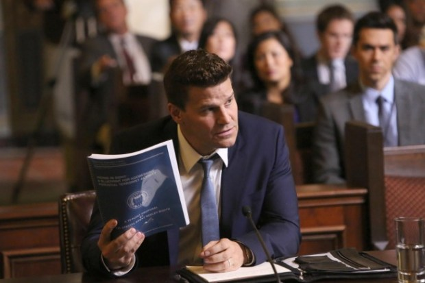 """Booth (David Boreanaz, C) is questioned by a Senate subcommittee  in the """"The Recluse in the Recliner"""" Season Finale episode of BONES. Cr:  Patrick McElhenney/FOX"""
