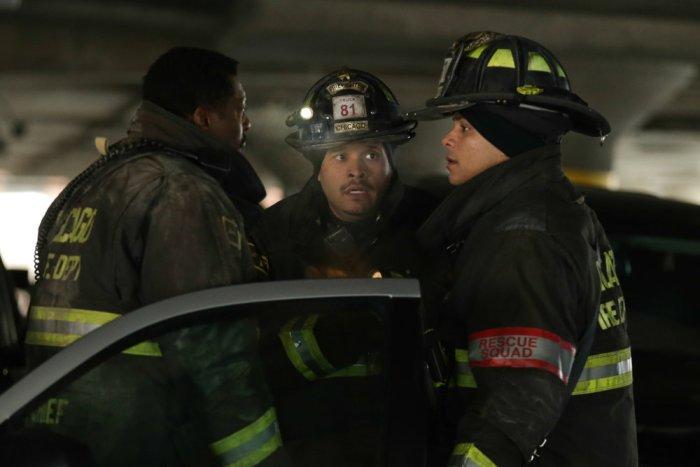 Pictured: (l-r) Eamonn Walker as Chief Wallace Boden, Joe Minoso as Joe Cruz, Charlie Barnett as Peter Mills -- (Photo by: Elizabeth Morris/NBC)