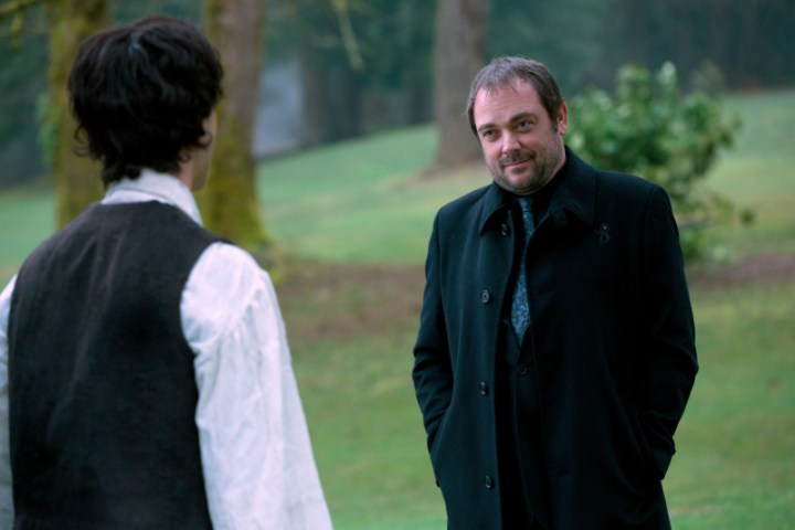 Pictured (L-R): Theo Devaney as Gavin and Mark Sheppard as Crowley -- Credit: Jack Rowand/The CW