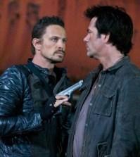 Pictured (L-R): David Lyons as Sebastian Monroe, Billy Burke as Miles Matheson -- Photo by: Felicia Graham/NBC