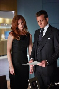 """It's says here you're looking for more than money. What does that even mean? Pictured: (l-r) Sarah Rafferty as Donna Paulsen, Gabriel Macht as Harvey Specter -- (Photo by: Shane Mahood/USA Network)"