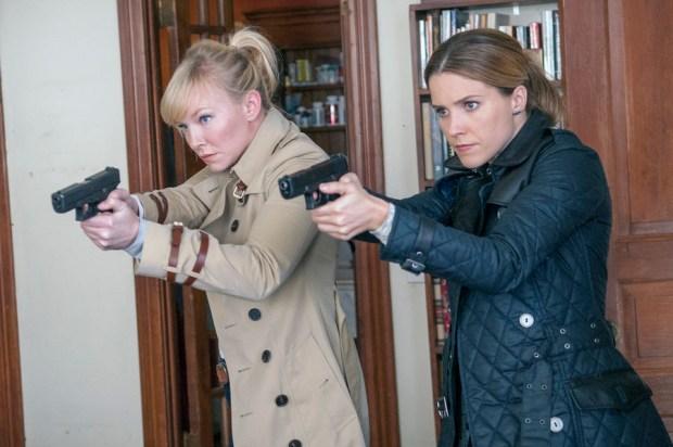 Pictured: (l-r) Kelli Giddish as Amanda Rollins, Sophia Bush as Erin Lindsay -- (Photo by: Matt Dinerstein/NBC)