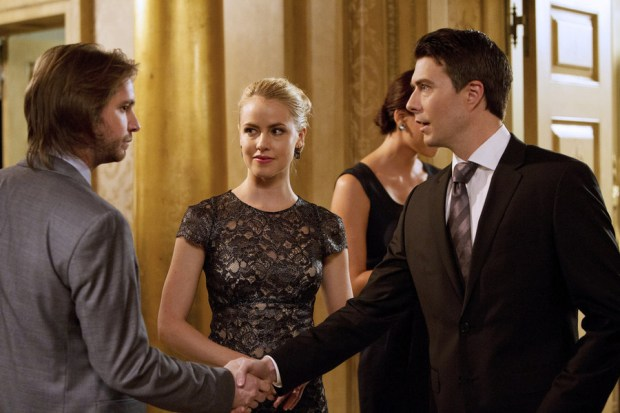 Pictured: (l-r) Aaron Stanford as Cole, Amanda Schull as Railly, Noah Bean as Aaron -- (Photo  by: Alicia Gbur/Syfy)