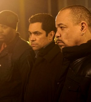 """Pictured: (l-r) Laroyce Hawkins as Kevin Atwater, Danny Pino as Nick Amaro, Ice-T as Odafin """"Fin"""" Tutuola  -- (Photo by: Elizabeth Morris/NBC)"""