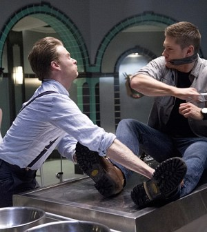 Pictured (L-R): Matt Bellefleur as Eli Styne and Jensen Ackles as Dean -- Photo: Diyah Pera/The CW -- © 2015 The CW Network, LLC. All Rights Reserved.