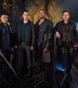 Men of the Raza-- Pictured: (l-r) Alex Mallari Jr. as Four, Mark Bendavid as One, Roger Cross as Six, Anthony Lemke as Three -- (Photo by: Dennys/Ilic/Syfy)