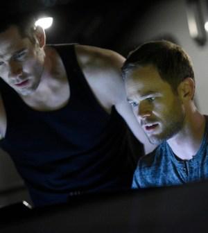 Pictured: (l-r) Luke Macfarlane as D'Avin, Aaron Ashmore as John -- (Photo by: Steve Wilkie/Temple Street Releasing Limited/Syfy)