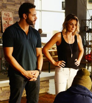 Pictured: (l-r) Daniel Sunjata as Paul Briggs, Serinda Swan as Paige Arkin -- (Photo by: Jeff Daly/USA Network)