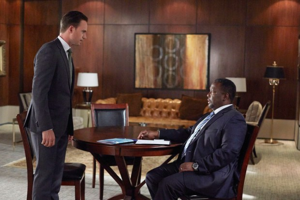 """SUITS -- """"No Puedo Hacerlo"""" Episode 504 -- Pictured: (l-r) Patrick J. Adams as Michael Ross, Wendell Pierce as Robert Zane -- (Photo by: Shane Mahood/USA Network)"""