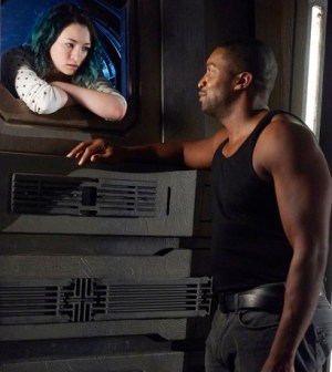 Pictured: (l-r) Jodelle Ferland as Five, Roger Cross as Six -- (Photo by: Steve Wilkie/Prodigy Pictures/Syfy)