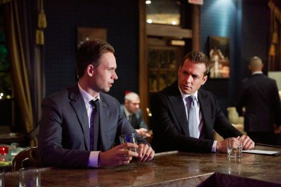 Pictured: (l-r) Patrick J. Adams as Michael Ross, Gabriel Macht Harvey Specter -- (Photo by: Shane Mahood/USA Network)