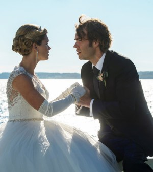 """HAVEN -- """"Enter Sandman"""" Episode 517 -- Pictured: (l-r) Emily Rose as Audrey Parker, Rossif Sutherland as Sandman -- (Photo by: Michael Tompkins/Haven 5 Productions/Syfy)"""