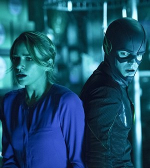 Pictured (L-R): Shantel VanSanten as Patty Spivot and Grant Gustin as The Flash -- Photo: Cate Cameron/The CW