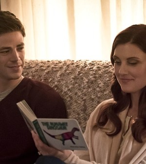 Pictured (L-R): Grant Gustin as Barry Allen and Michelle Harrison as Nora Allen -- Photo: Katie Yu/The CW
