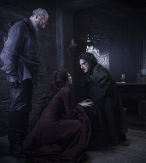 Pictured: Liam Cunningham as Davos Seaworth, Carice van Houten as Melisandre and Kit Harington as Jon Snow Credit: Helen Sloan/HBO