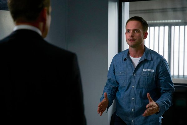 "SUITS -- ""Accounts Payable"" Episode 602 -- Pictured: Patrick J. Adams as Michael Ross -- (Photo by: Shane Mahood/USA Network)"