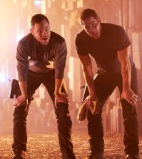 Pictured: (l-r) Aaron Ashmore as John, Luke Macfarlane as D'Avin -- (Photo by: Steve Wilkie/Syfy/Killjoys II Productions Limited)