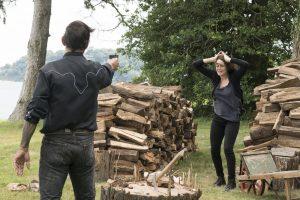 "THE BLACKLIST -- ""Esteban #79"" Episode 401 -- Pictured: (l-r) Raoul Trujillo as Mato, Megan Boone as Elizabeth Keen -- (Photo by: Virginia Sherwood/NBC)"