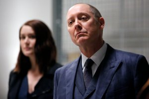 """THE BLACKLIST-- """"The Thrushes: #53"""" Episode 406 -- Pictured: (l-r) James Spader as Raymond """"Red"""" Reddington, Megan Boone as Elizabeth Keen -- (Photo by: Will Hart/NBC)"""