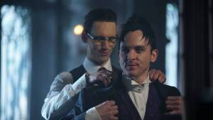 GOTHAM: L-R: Cory Michael Smith and Robin Lord Taylor | Co. Cr: Nicole Rivelli/FOX.