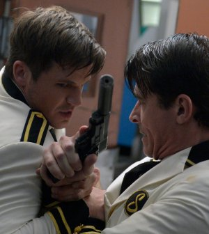 Pictured: (l-r) Matt Lanter as Wyatt Logan, Goran Visnjic as Garcia Flynn -- (Photo by: Sergei Bachlakov/NBC)