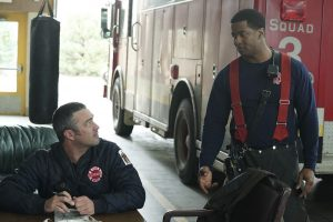 """CHICAGO FIRE -- """"Sixty Days"""" Episode 521 -- Pictured: (l-r) Taylor Kinney as Kelly Severide, Kamal Angelo Bolden as Jason Kannell -- (Photo by: Elizabeth Morris/NBC)"""