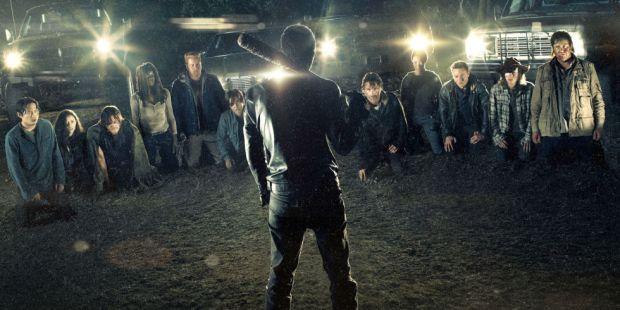Negan's Line Up in The Walking Dead Season 7   Photo © AMC