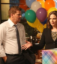 "BONES:  L-R:  David Boreanaz and Emily Deschanel in the ""The Brain in the Bot"" 