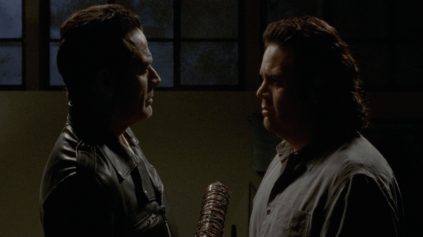 Pictured: (L-R) Jeffrey Dean Morgan as Negan, Josh McDermitt as Eugene. Photo © AMC