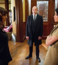 Pictured (L-R)   Ophelia Lovibond  as Kitty Winter, Sherlock Holmes as Jonny Lee Miller and Joan Watson as  Lucy Liu Photo: JEFF NEIRA/CBS ©2016 CBS Broadcasting, Inc. All Rights Reserved