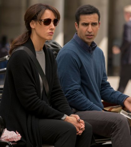 "TAKEN -- ""A Clockwork Swiss""  Episode: 105 -- Pictured: (l-r) Jennifer Beals as Christina Hart, Saad Siddiqui as Dyer -- (Photo by: Panagiotis Pantazidis/NBC)"