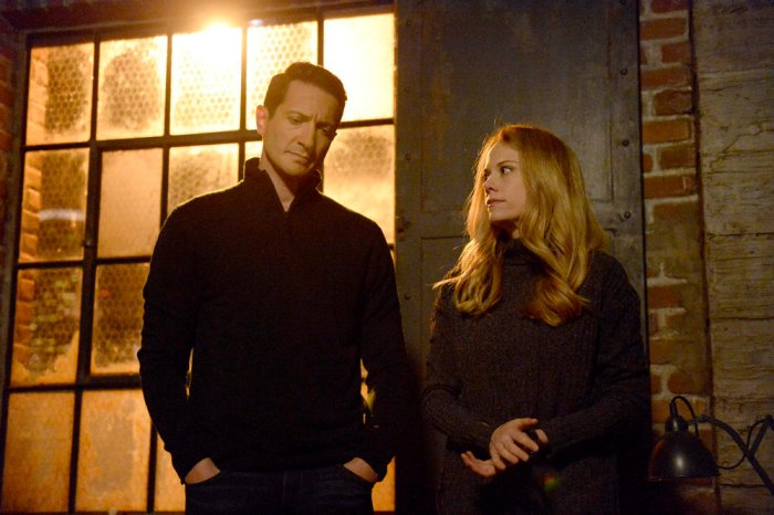 "GRIMM -- ""Where The Wild Things Were"" Episode 611 -- Pictured: (l-r) Sasha Roiz as Sean Renard, Claire Coffee as Adalind Schade -- (Photo by: Allyson Riggs/NBC)"