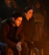 "GRIMM -- ""Where The Wild Things Were"" Episode 611 -- Pictured: (l-r) David Giuntoli as Nick Burkhardt, Bitsie Tulloch as Eve -- (Photo by: Allyson Riggs/NBC)"