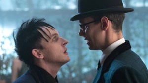 "GOTHAM: L-R: Robin Lord Taylor and Cory Michael Smith in the ""Heroes Rise: Pretty Hate Machine episode of GOTHAM airing Monday, May 29 (8:00-9:01 PM ET/PT) on FOX. Cr: Jessica Miglio/FOX"