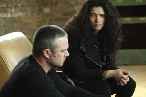 """CHICAGO FIRE -- """"Carry Me"""" Episode 520 -- Pictured: (l-r) Taylor Kinney as Kelly Severide, Miranda Rae Mayo as Stella Kidd -- (Photo by: Elizabeth Morris/NBC)"""