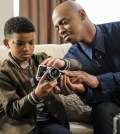 """Supergirl -- """"City of Lost Children"""" Pictured (L-R): Lonnie Chavis as Marcus and Mehcad Brooks as James Olsen/Guardian -- Photo: Bettina Strauss/The CW"""