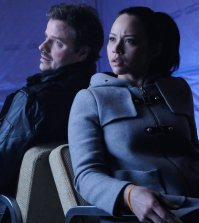 """DARK MATTER -- """"Is That A Paradox?"""" Episode 309 -- Pictured: (l-r) Anthont Lemke as Three, Melissa O'Neil as Two -- (Photo by: Stephen Scott/Dark Matter Series 3/Syfy)"""