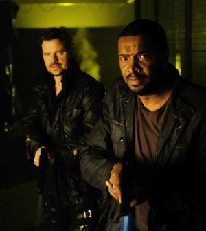 "DARK MATTER -- ""The Dwarf Star Conspiracy"" Episode 311 -- Pictured: (l-r) Anthony Lemke as Three, Roger Cross as Six -- (Photo by: Stephen Scott/Dark Matter Series 3/Syfy)"