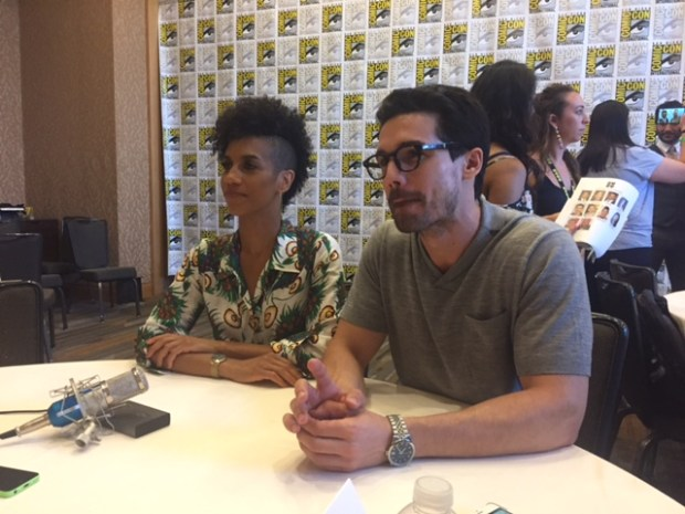 Pictured: Dominique Tipper and Steven Strait at San Diego Comic Con 2017 | Photo credit Pauline Perenack/ScreenSpy Magazine