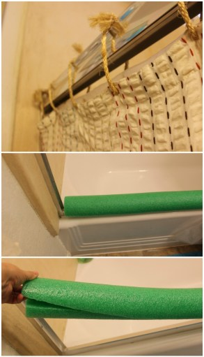 How to Turn a Sliding Shower Door Into a Curtain & How To Use a Pool Noodle To Protect Yourself From the Bottom Railing