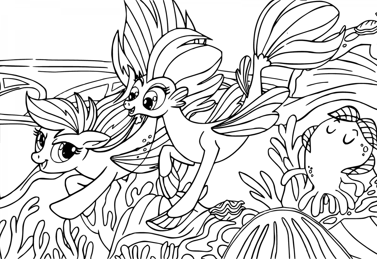My Little Pony Movie Coloring Page Undersea Ponies