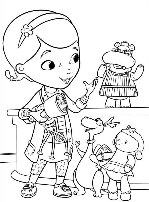 Doc McStuffins with her friends coloring page
