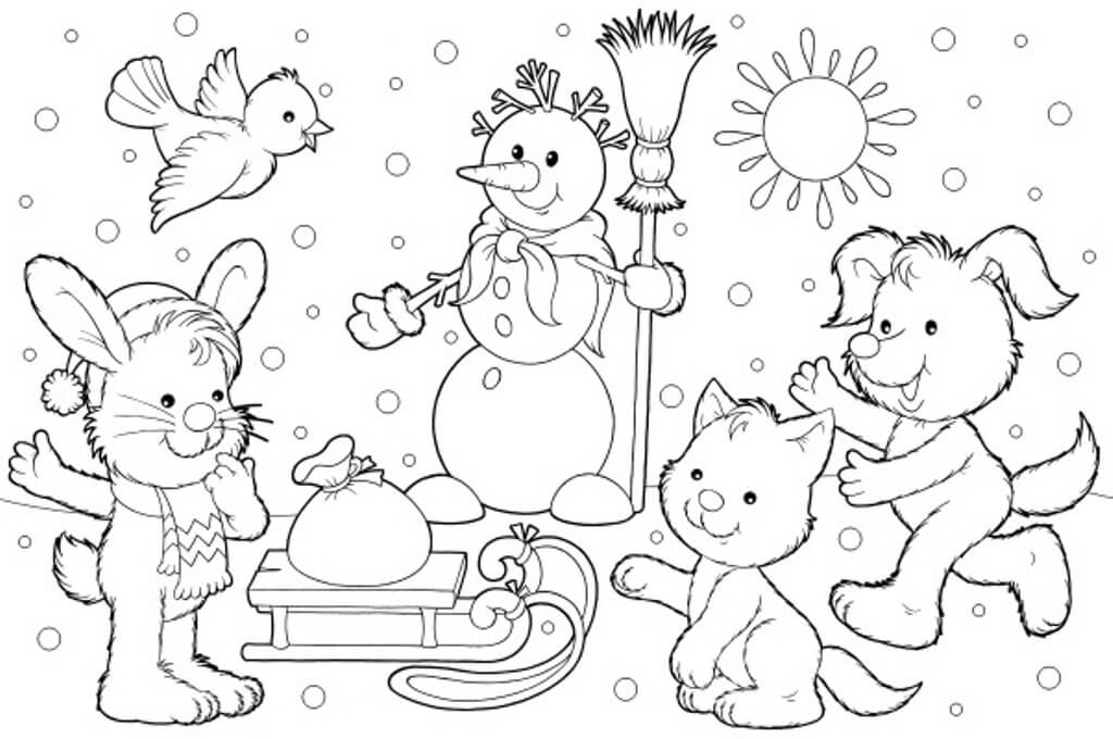 Free Printable Winter Coloring Pages | coloring sheets winter animals
