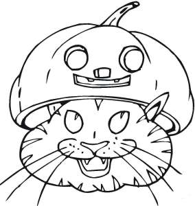 Cat In Jack O Lantern Coloring Page