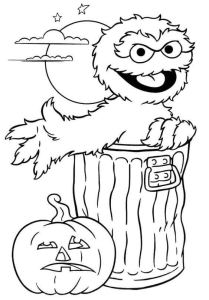 Oscar And Jack O Lantern Coloring Picture