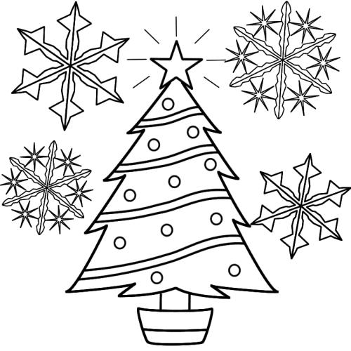 Christmas Tree And Snowflakes Cutout