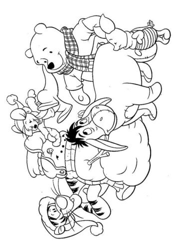 Pooh Building Snowman Coloring Page