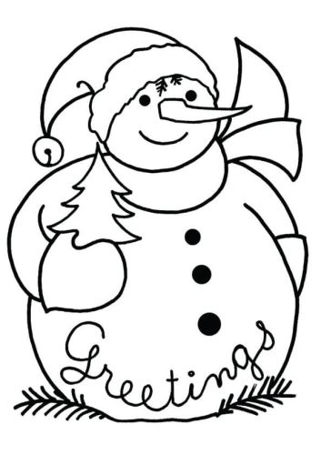 Seasons Greeting By Snowman Coloring Page