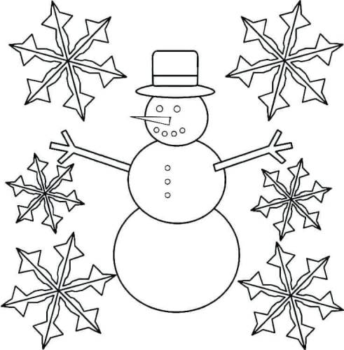 Snowman And Snowflake Coloring Page